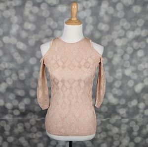 WHBM Cold Shoulder Mesh Sweater